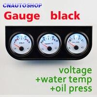 Black Car Gauge Holder 3 In 1 Kit Voltage Water Temperature Oil Press Triple Auto Meter