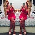Летнее платье 2016 Новая Мода Дизайн Женщины Без Рукавов Сексуальная Ложь 2 Шт. Набор Бинты Вырез Bodycon Платье Женщины Глубокий v-образным вырезом
