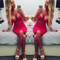 Summer dress 2016 New Fashion Desigh Women Sleeveless Sexy False 2 Piece Set Bandage Cut Out Bodycon Dress Women Deep V-neck
