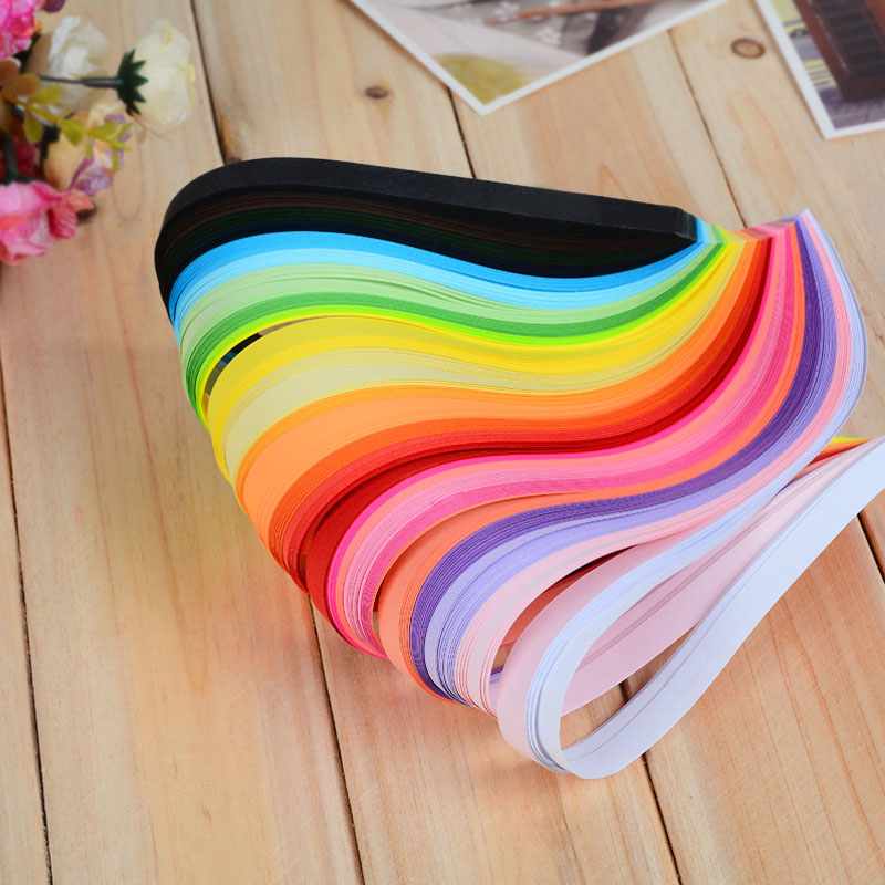 260 Pcs Origami Hand Made Child DIY Craft Mixed Color Scrapbooking Stripes Quilling Paper