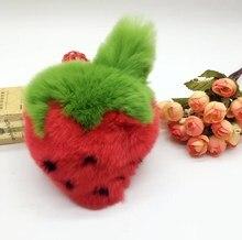 Cute Strawberry Keychain Fluffy Pompom Rex Rabbit Fur Ball Keyring Pom Pom Toy Woman Bag Charms Man Car Key Ring Chain Holder цена и фото