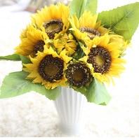 7 cabeça/bando Gerbera bouquet De Girassol De Seda decorativo flor Artificial Da flor Da Noiva segurar flores do Dia Das Bruxas decoração de casa
