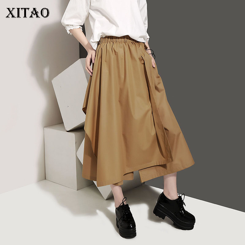 [XITAO] New Women Korea Fashion 2019 Summer Solid Color   Wide     Leg     Pants   Female Elastic Waisted Casual Calf-length   Pants   ZQ1889