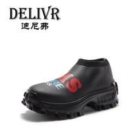Delivr 2019 новые ботинки с массивным каблуком на платформе толстая подошва Мода носок обуви Slip On Для женщин папа обувь черный zapatillas mujer Plataformas