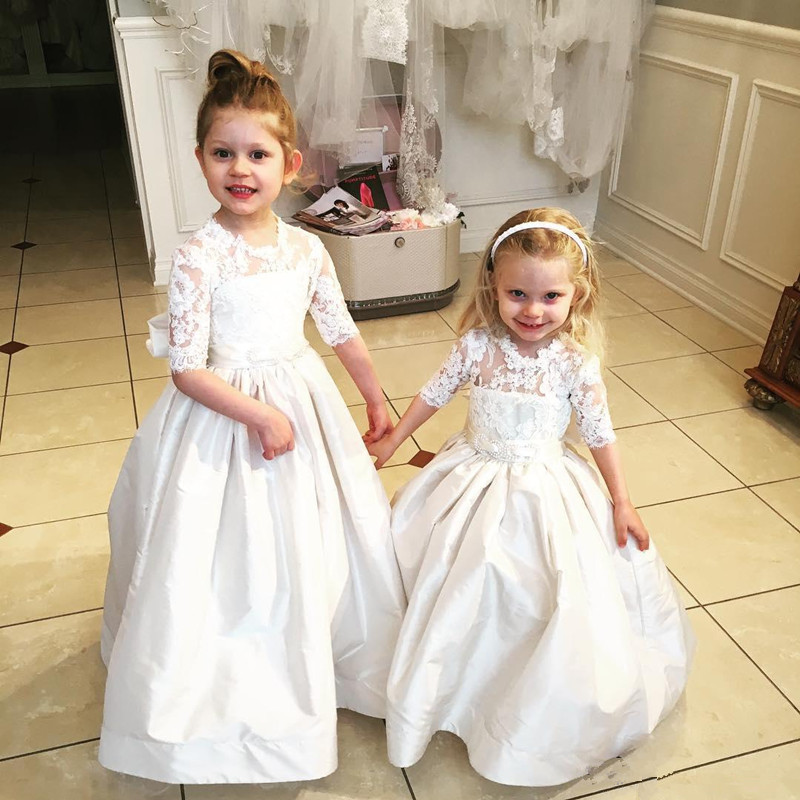 Half Sleeve   Flower     Girl     Dresses   Cummunion Toddler Kids with Bowknot Sash Christmas Party Pageant   Dress   for Wedding Party