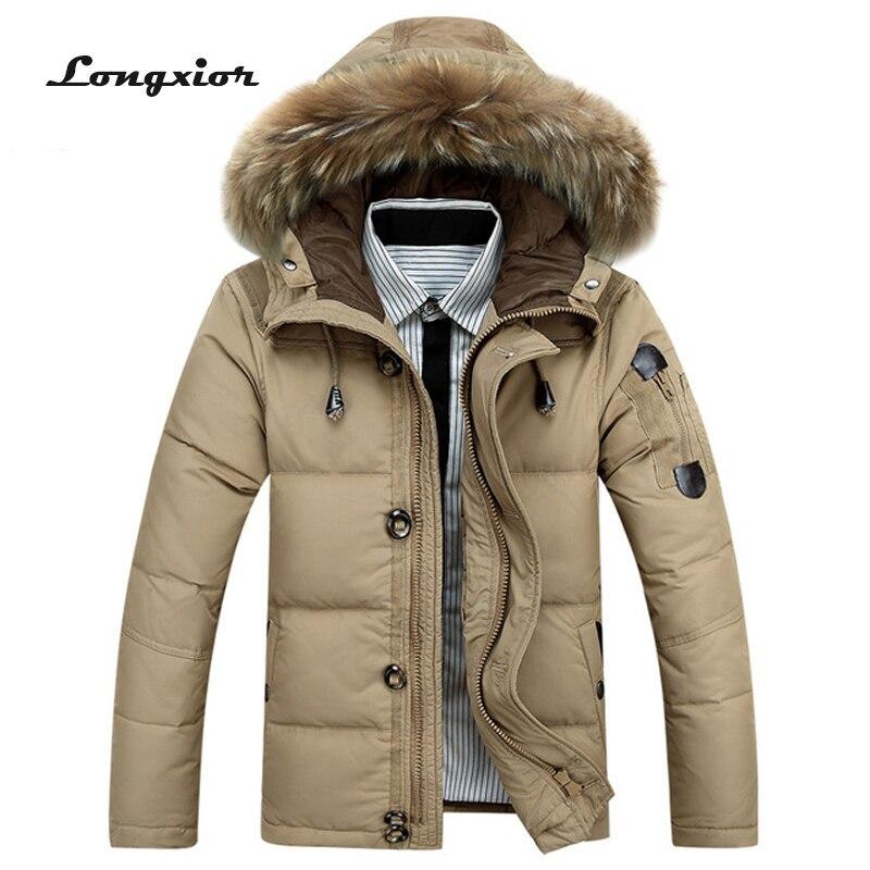 L2 Новый Мода 2017 Для мужчин; зимняя куртка-30 градусов зимние пиджаки Для мужчин тепло Термальность с капюшоном зимние Пальто для будущих мам Мужской сплошной Пуховое пальто m-3XL