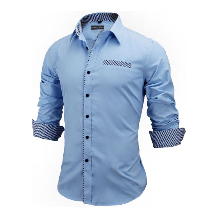 HTB1lRmnKVXXXXacXFXXq6xXFXXXE - New Arrivals Slim Fit Male Shirt Solid Long Sleeve British Style Cotton Men's Shirt N332