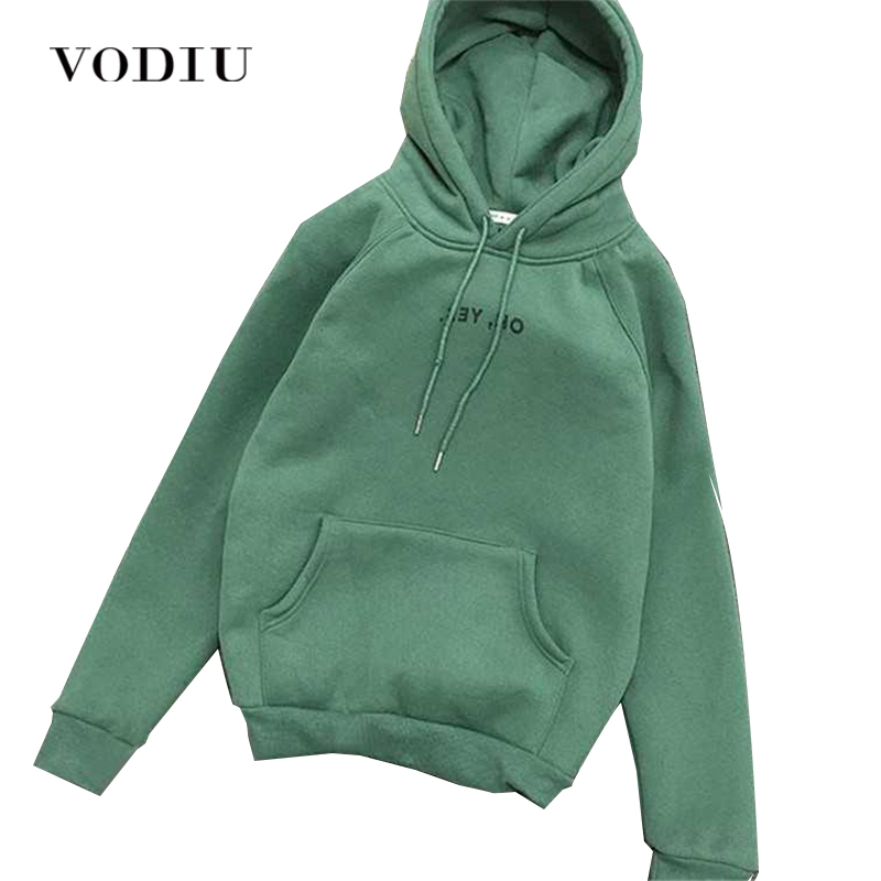 Hoodies Women Sweatshirt Spring Autumn Fleece Oh Yes Letter Harajuku Print Pullover Thick Loose Cloth Female Casual High Quality