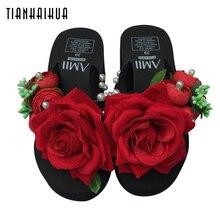 Summer Shales for Women 2018 Slope Platform Sandals Wedge Flip Flops Slope Handmade Flower Heel Thick Bottom Slippers Sandalias
