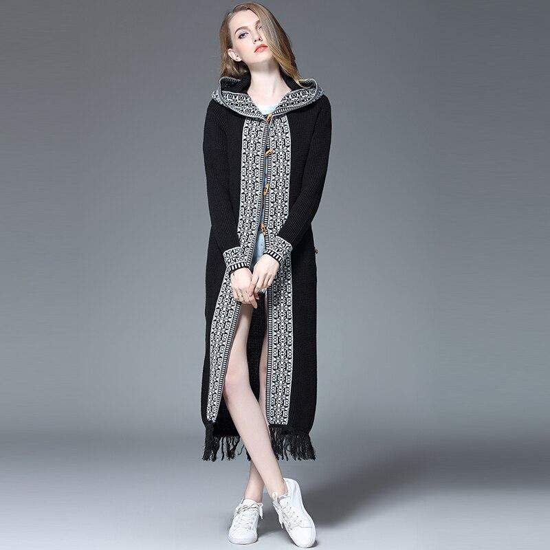 Marque Chandail Cardigan Noir Femmes Lady Casual Manteaux Mode Femelle Gland 2018 Nouvelles Longues Tricots Mince Manches De Jacquard Fond MpVzqSU