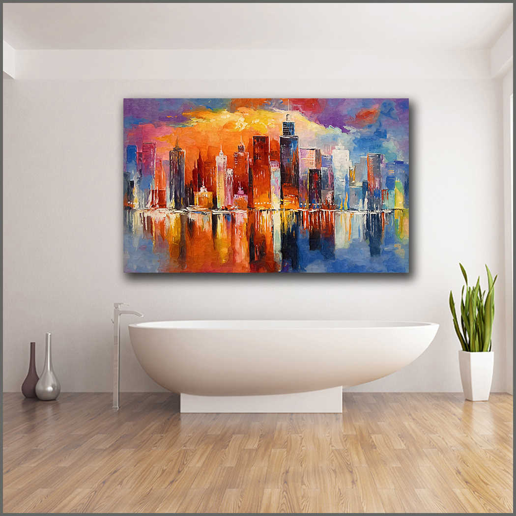 Large size Printing Oil Painting beautyful Evening New York wall art canvas print pictures for living room and bedroom No Frame