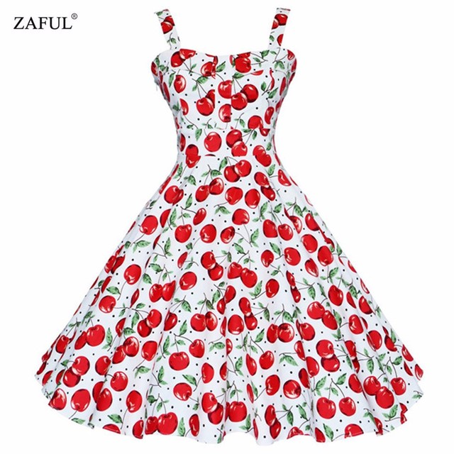 ZAFUL D'été Dress 2016 Vintage Rockabilly Dress Jurken 60 s 50 s Rétro Swing Big Floral Pin-Up Court Long Audrey Hepburn Robes