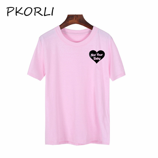 Pkorli Not Your Baby T Shirt Women Funny Letters Printed Pink