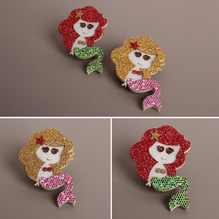 2pcs=1 lot Mermaid Princess Little Red Riding Hood Hair Clips Girls Cotton Hair Bows Hairpins Hair Accessories