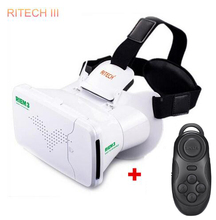 RITECH III RIEM3 VR Virtual Reality 3D Glasses Head Mount Cardboard Mobile 3D Movie+ Bluetooth Remote Control Cheap High Quality