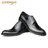 Lozoga Real Leather Shoes Men Oxfords Shoes High Quality Men Flats Dress Shoes Lace Up Men