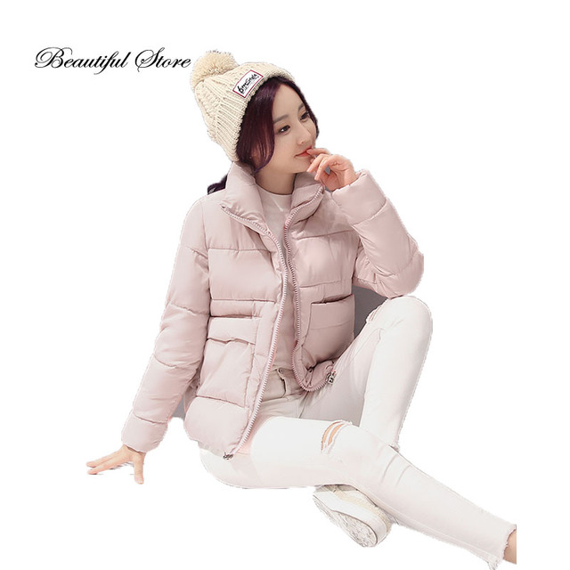 Mujeres acolchado espesar abrigos 2016 moda grandes bolsillos de manga larga delgado corto femenino chaqueta de algodón acolchado de invierno parkas de abrigo