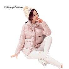 Женщины мягкие пальто 2016 мода сгущает длинным рукавом большими карманами тонкий короткие хлопка-ватник зимние женские ветровки пальто