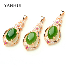 YANHUI Original Luxury Women Natural Green Crystal Stone Pendant Necklace Rose Gold Color Red CZ Pendant
