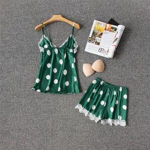 Image 3 - Daeyard משי פיג מה נשים סקסי הלבשה תחתונה Cami ומכנסיים קצרים עם תחרה לקצץ Pyjama Femme מנוקדת פיג מה הלבשת בגדי בית