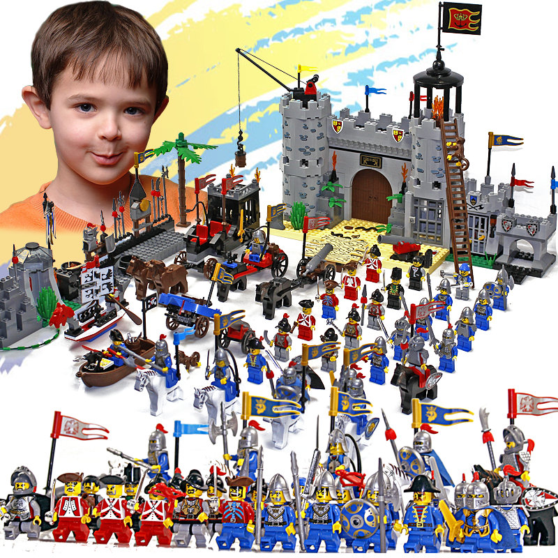 Enlighten Knights Educational Building Blocks Toys For Children Gifts Castle Knight Heros Weapon Boat Gun Horse Compatible Brand цена