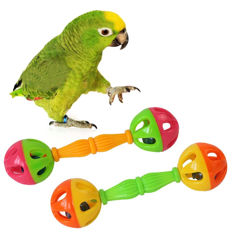2 Pcs Bird Parrot Toy Rattle Birds Fun Exercise Plastic Double headed Bell font b Pet