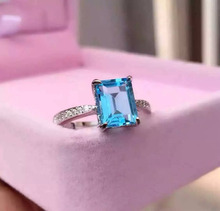 Natural blue topaz gem Ring Natural gemstone ring 925 sterling silver trendy Elegant Simple square women girl party fine Jewelry