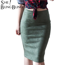 SheBlingBling Fashion Empire Skirts Spring Faux Suede Pencil Skirt High Waist Bodycon Split Thick Stretchy Skirts