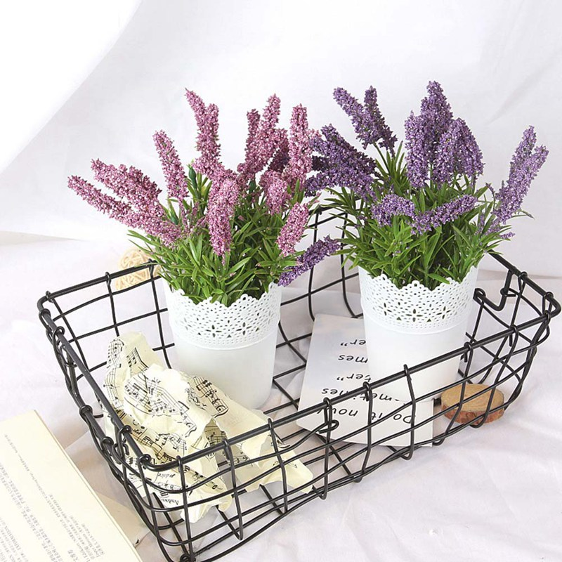 Postral Style Artificial Flowers Potted  Flower Bonsai Miniscape Lavender Flowers Bonsai For Wall Or Desk Decoration