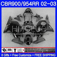 Body For HONDA CBR900RR CBR 954 RR CBR900 RR CBR954RR 02 03 67HM.9 CBR954 RR CBR 900RR CBR 954RR 2002 2003 Glossy black Fairing