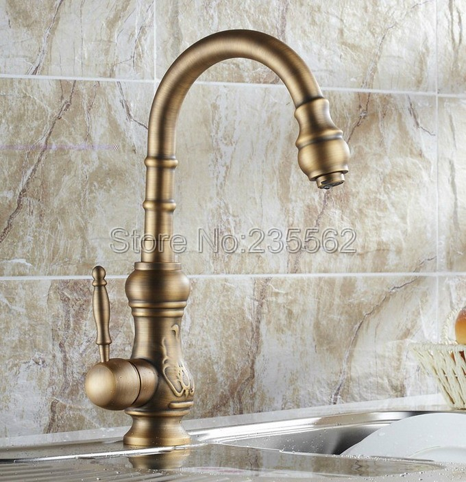 Antique Brass Single Handle Kitchen Sink Faucet Cold and Hot Mixer High Basin Faucets Swivel Spout lnf080Antique Brass Single Handle Kitchen Sink Faucet Cold and Hot Mixer High Basin Faucets Swivel Spout lnf080