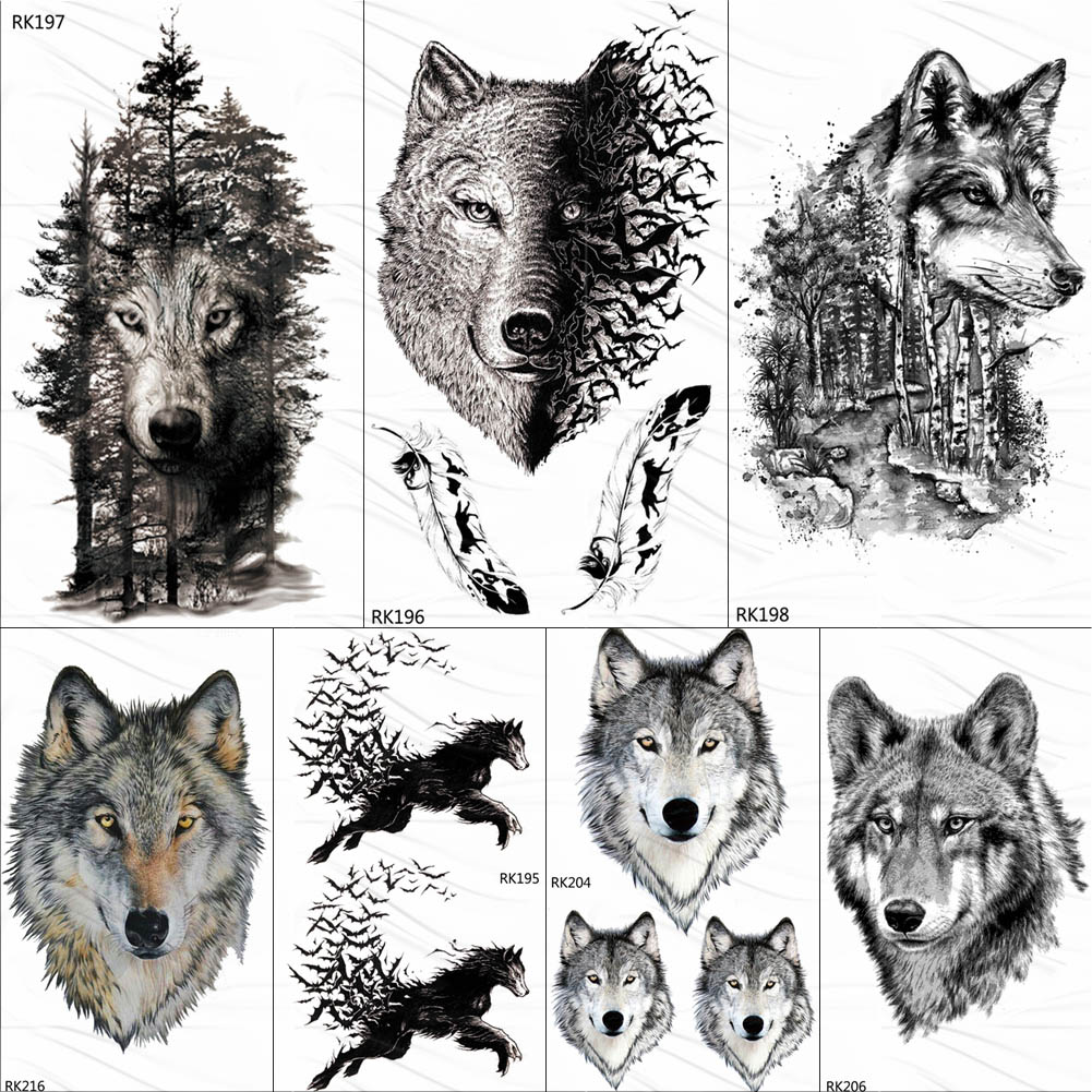 OMMGO Black Wolf Forest Tribal Feather Tattoos Temporary Sticker Tree Fierce Animal Fake Tattoo For Men Body Art Custom Tatoos