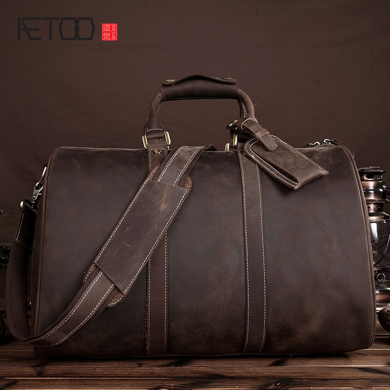 AETOO Crazy horse leather travel large-capacity business men header layer of leather travel bag retro portable shoulder bag aetoo crazy horse leather leather classic classic men s 14 inch business portable computer bag