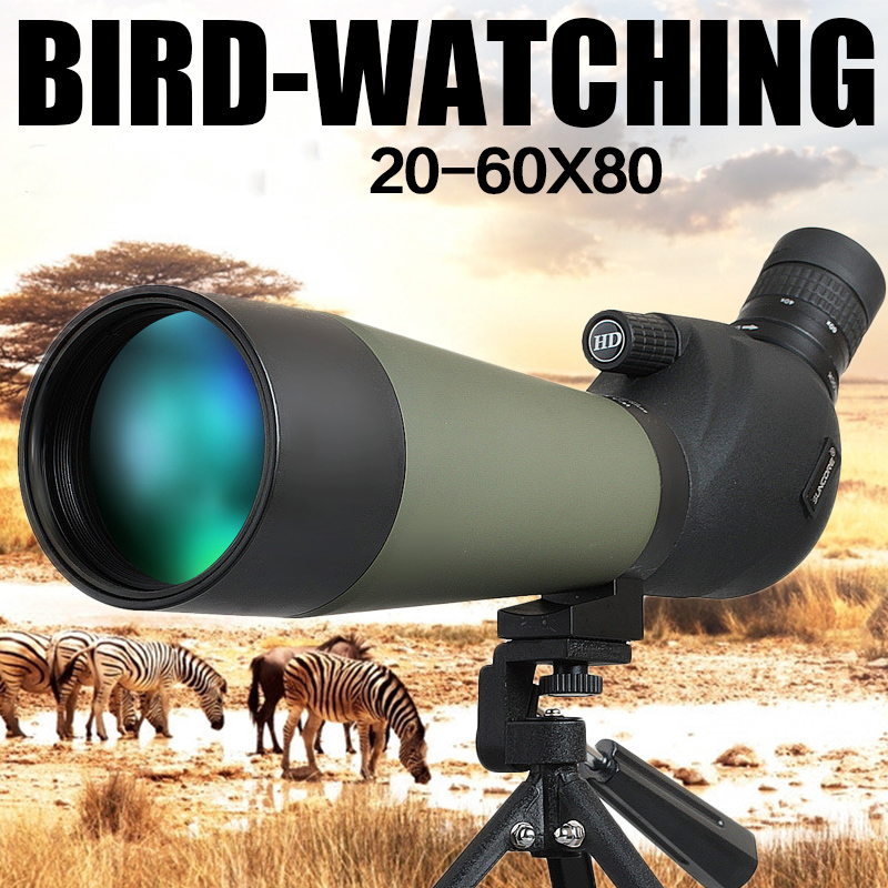 New 20-60X80 Hunting Scope Monocular Single Hand Focus Spotting Scopes For Birdwatching with tripod professional spotting scope with portable tripod hd monocular telescope 12 36x50 spotting scopes for hunting birdwatching