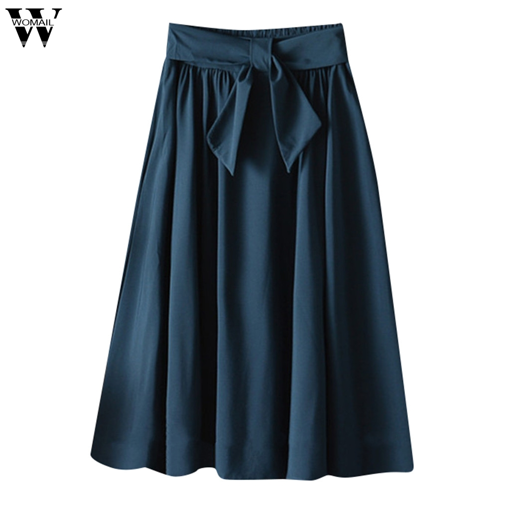 Womail  Skirt For Women Sexy Fashion High Waist Skirt With Belt Printed Beach Midi Knee Length  A-line School Skirt New2019 M523