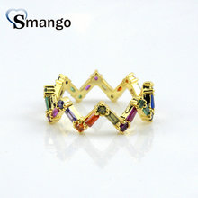 5Pieces,Women Fashion Jewelry,The Rainbow Series Wave Shape Rings Gold Colors, Can Wholesale