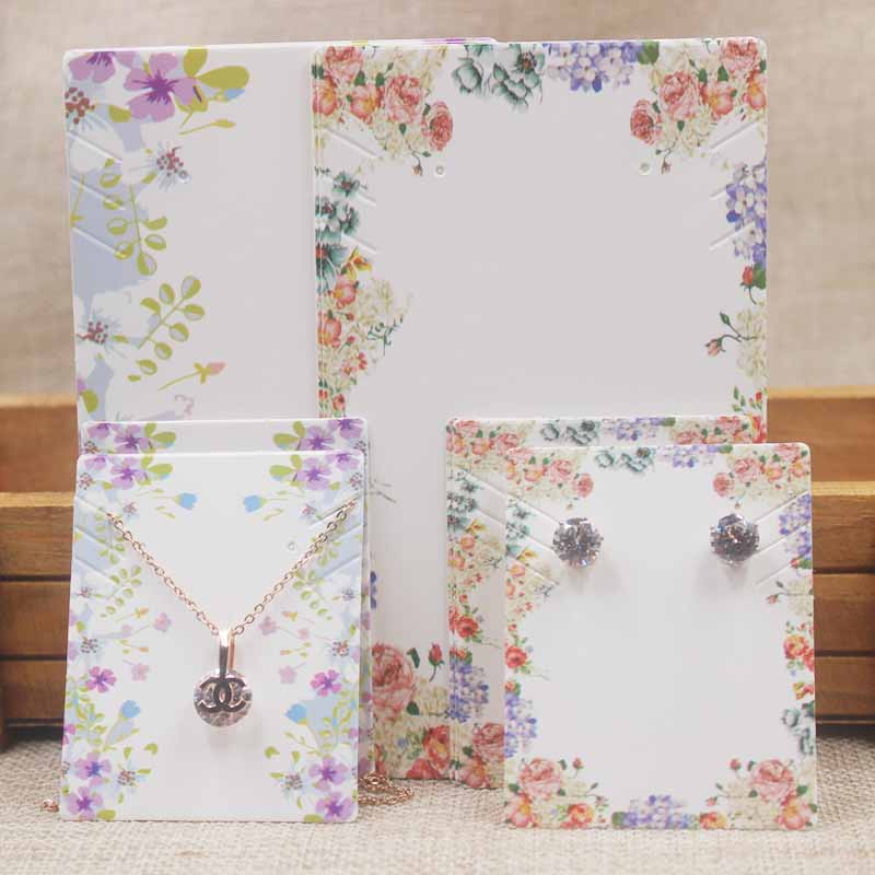 Flower Pattern Necklace Earring Set Package Card Tag Large Jewelry Pendant /charms / Earrings Display Tag Card100pcs+100oppbag
