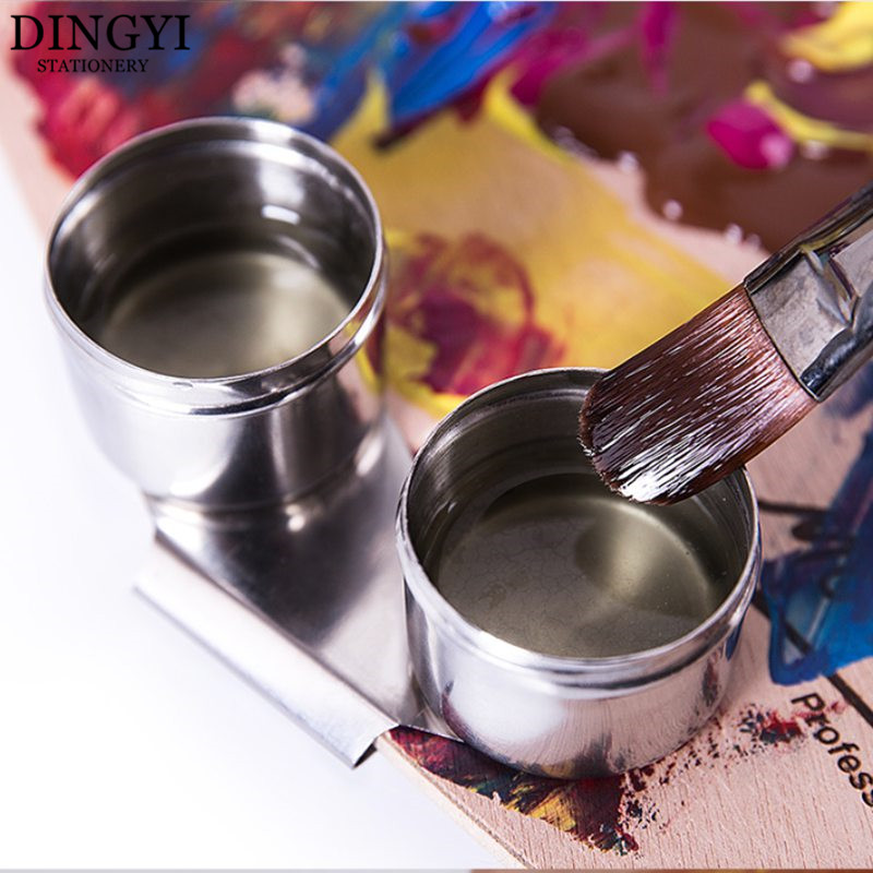High Quality Paint Palette Oil Pot Single Double Hole Dipper Metal Painting Paleta Drawing Tools School Art Painting Supplies