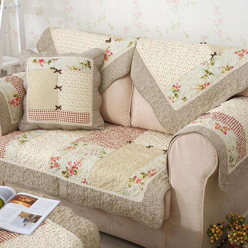 Hot Autumn Winter Cotton Sofa Cover Floral Dot Printed ...