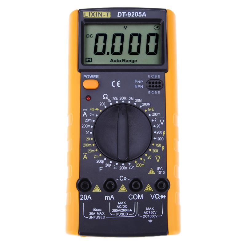 DT9205 LCD Display Professional Electric Handheld Tester Meter Digital Multimeter AC DC Voltmeter Ammeter Multitester