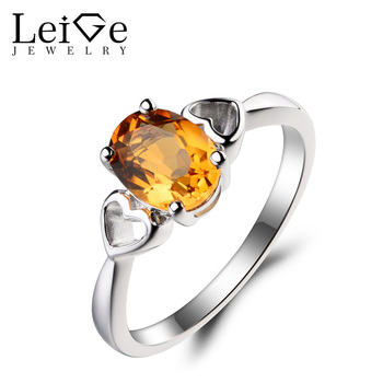 Leige Jewelry Oval Cut Natural Citrine Ring Wedding Ring Yellow Gemstone November Birthstone 925 Sterling Silver Ring Gifts