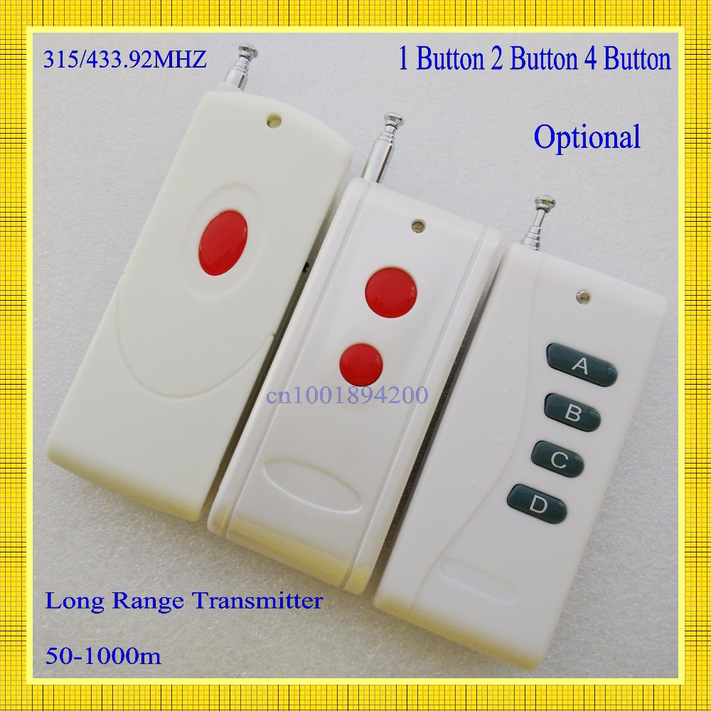 RF Remote Control Radio Long Range Transmitter 315/433 High-grade 1 Button Remote 1000m Wireless Remote Power Switch remote control transmitter for remote switch 1 2 3 4 6 8 button small size long range big button remote key pad 315 433 22621527