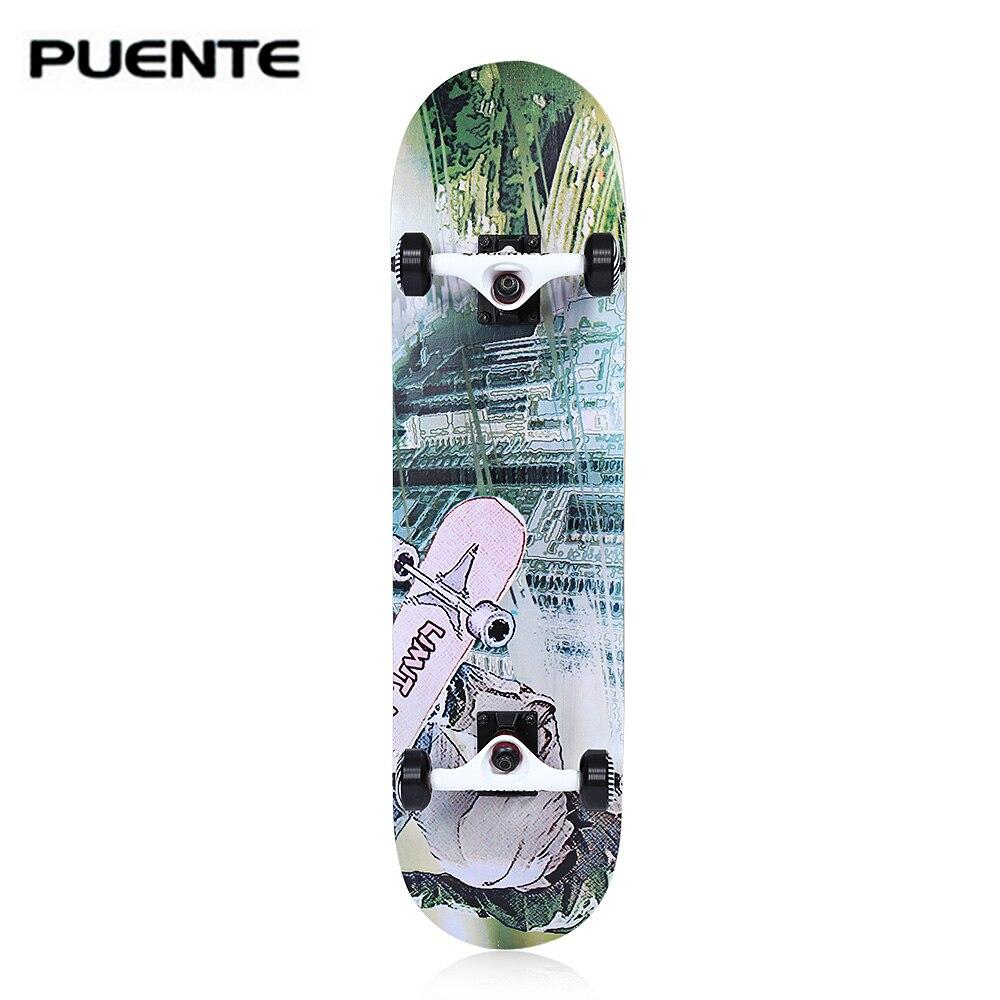 PUENTE 602 ABEC 9 Four wheel Double Snubby Maple Skateboard for Entertainment