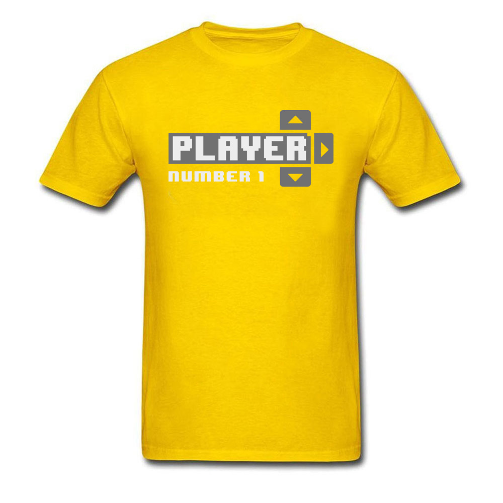 Player Number 1 All Cotton Tops T Shirt for Men Leisure T Shirt 3D Printed Prevailing O-Neck Tops Shirt Short Sleeve Player Number 1 yellow