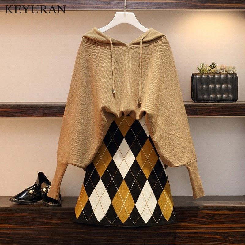 Plus Size XL-4XL 2019 Boawing Long Sleeve Hooded Sweater Tops + Plaid Print Skirt Casual 2 Pieces Set Knitting Clothing Suits