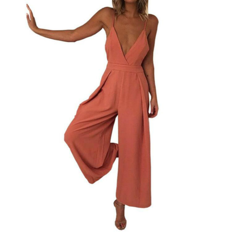 Sexy V Neck Strap Overalls For Women Summer Casual Loose Overalls with Long Pants For Women Orange Bodysuit; pants with a bow
