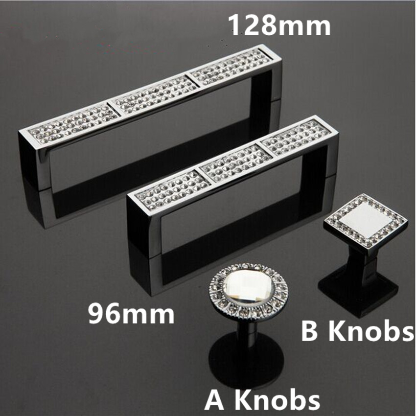 Dresser pull handle glass diamond drawer cabinet knob pull K9 crystal chrome deluxe fashion modern furniture handles 128mm 96mm glass diamond dresser handle knob clear glass crystal drawer cabinet knob pull modern fashion silver chrome furniture knobs 30mm
