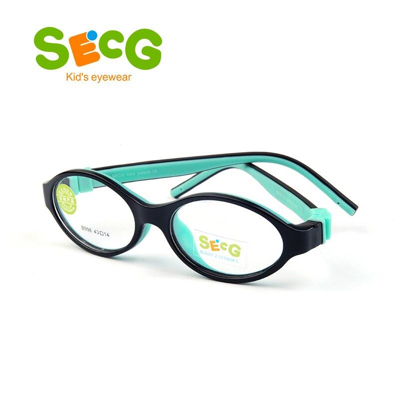 SECG Round Cute Kids Glasses Frame Optical Myopia Soft Flexible Detachable Transparent Children Glasses Spectacles Silicone