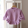 2017 spring and autumn new style fashion cute girl children knitted sweater pretty solid color sweater