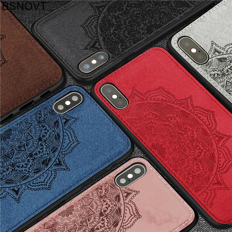For Apple iPhone XS Max Case Soft TPU Frame Cloth Fabric Anti knock Phone Case For iPhone XS Max Cover For iPhone XS Max BSNOVT in Fitted Cases from Cellphones Telecommunications